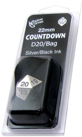 22mm Countdown D20 Metal: Black with Bag