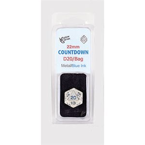 22mm Countdown D20 Metal: Blue with Bag