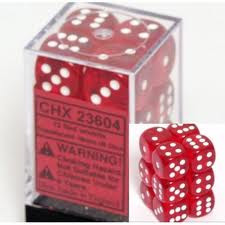 Chessex (23604): D6: 16mm: Translucent: Red/White