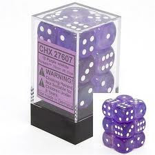 Chessex (23607): D6: 16mm: Translucent: Purple/White