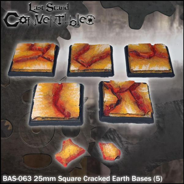 Last Stand Convertibles: Square 25mm: Cracked Earth (5)