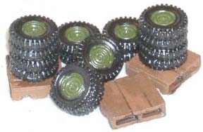 28mm WWII Terrain: Tire Stacks with Pallets