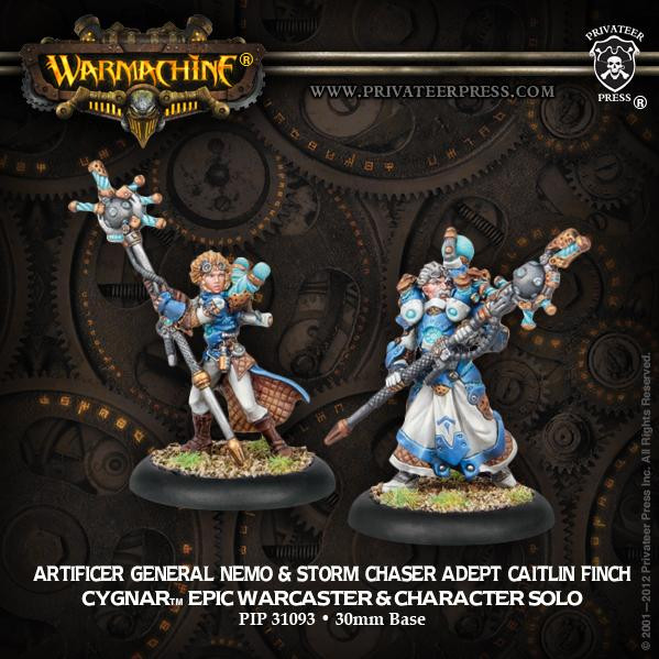 Warmachine: Cygnar (31093): Artificer General Nemo Epic Warcaster & Storm Chaser Adept Caitlin Finch