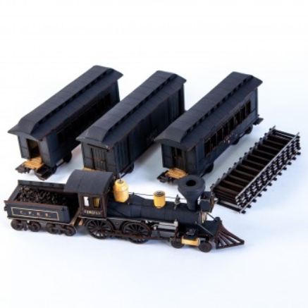 4Ground Miniatures: 28mm American Legends: 19th C. American Passenger Train Set (Black)