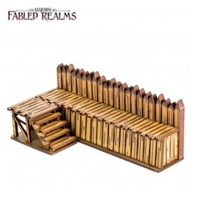 4Ground Miniatures: 28mm Fabled Realms: Straight Palisade Wall with Steps