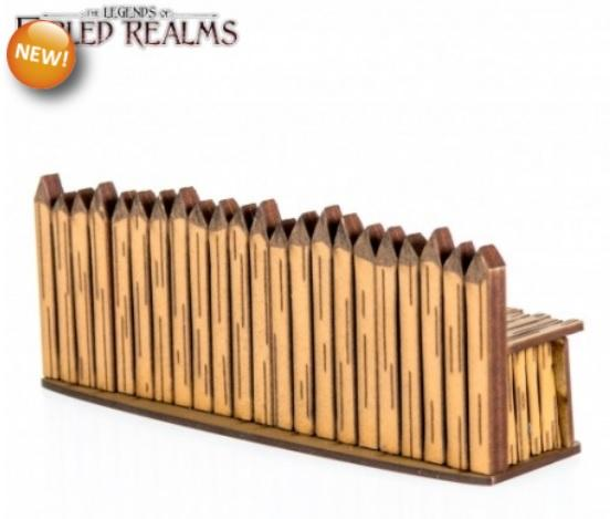 4Ground Miniatures: 28mm Fabled Realms: Straight Palisade Wall