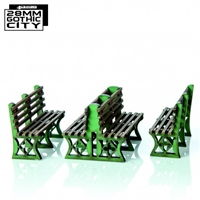 4Ground Miniatures: 28mm: Green Iron Frame Benches