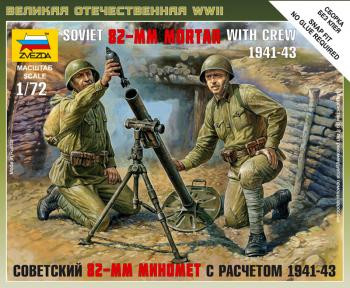 Zvezda Military 1/72 Scale: Soviet 82-mm Mortar with Crew 1941-43