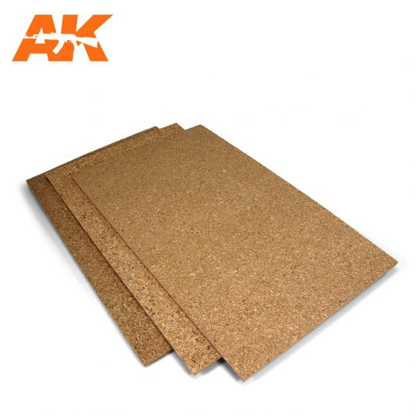 AK-Interactive Texture: Cork Sheet – FINE grained 200x300x3mm