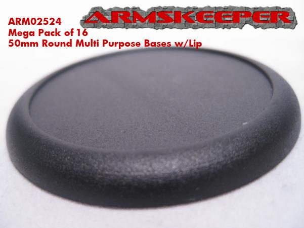 ArmsKeeper Bases: 50mm Round Multi Purpose Bases With Lip Mega Pack (50)