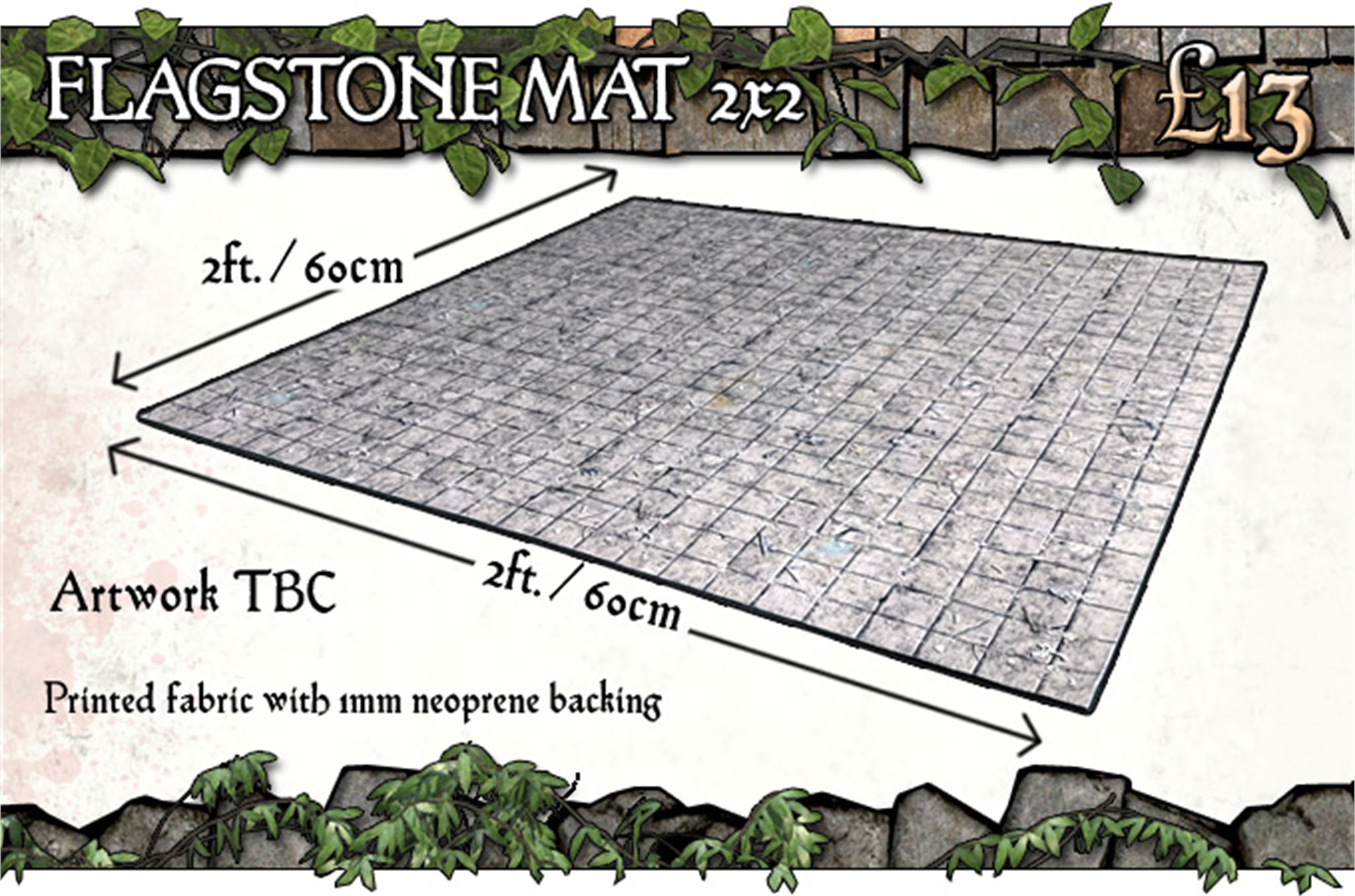 Battle Systems: Flagstone Floor Gaming Mat 2x2