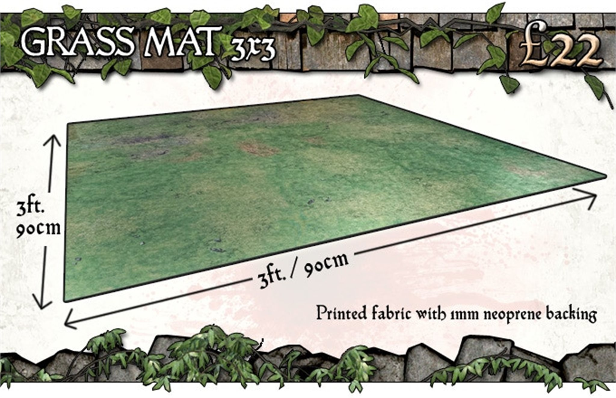 Battle Systems: Grassy Fields Gaming Mat 3x3