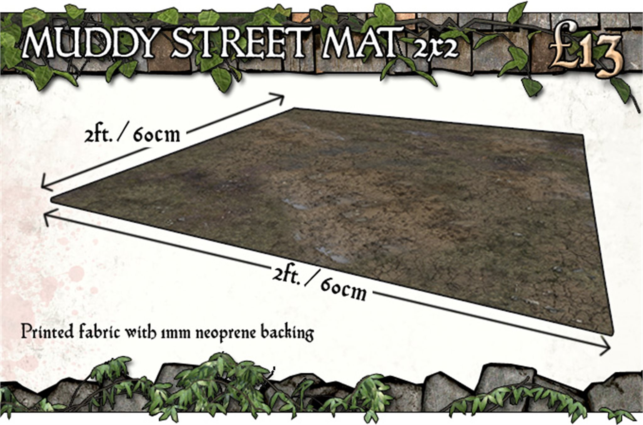 Battle Systems: Muddy Streets Gaming Mat 2x2