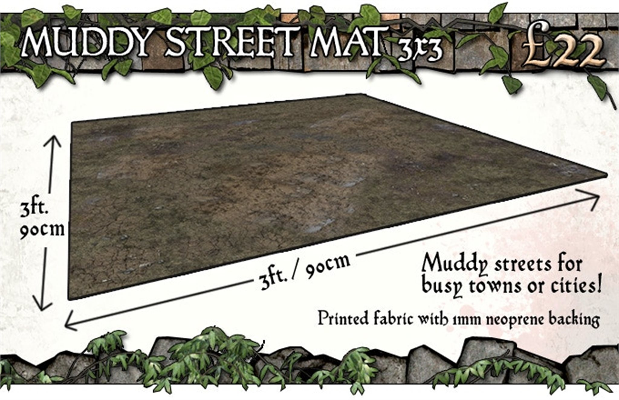 Battle Systems: Muddy Streets Gaming Mat 3x3