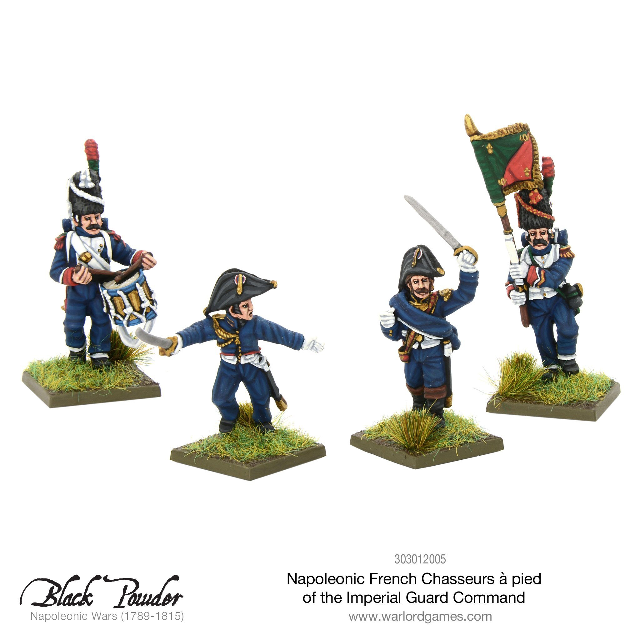 Black Powder Napoleonic Wars: Napoleonic French Chasseurs a Pied of the Imperial Guard command