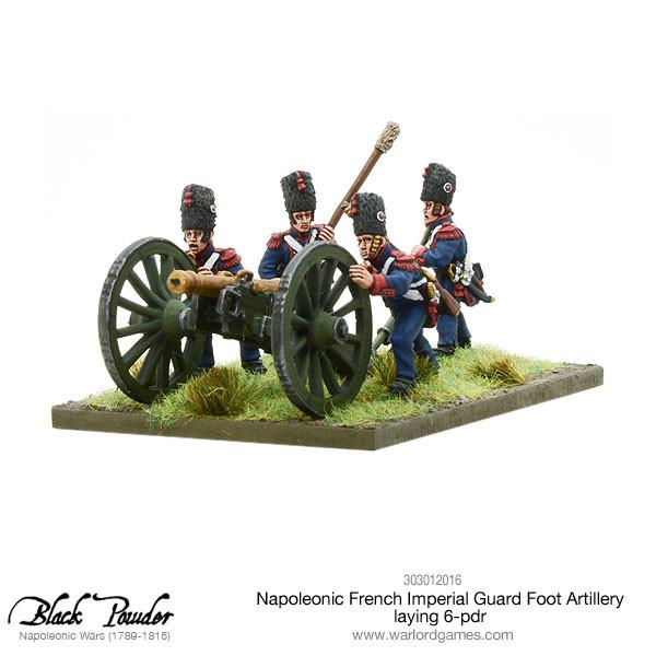 Black Powder Napoleonic Wars: Napoleonic French Imperial Guard Foot Artillery laying 6-pdr