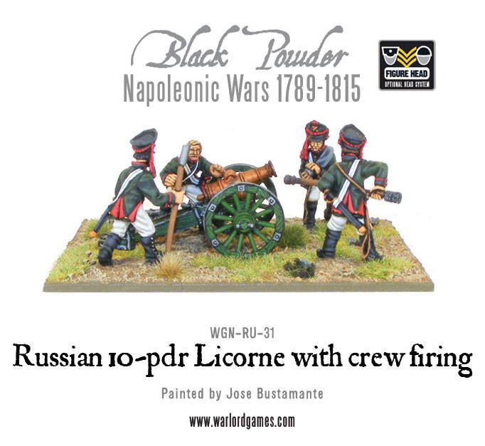 Black Powder Napoleonic Wars: Russian 10-pdr Licorne with crew firing