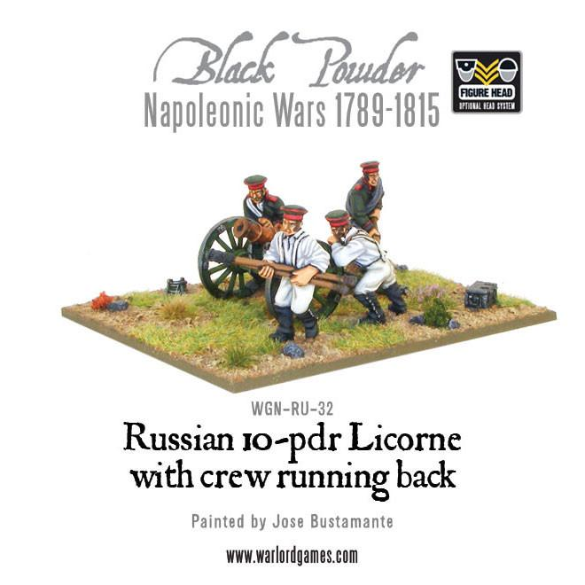 Black Powder Napoleonic Wars: Russian 10-pdr Licorne with crew running back