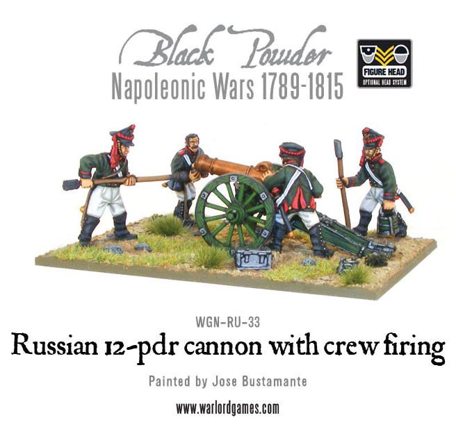 Black Powder Napoleonic Wars: Russian 12 pdr cannon with crew firing