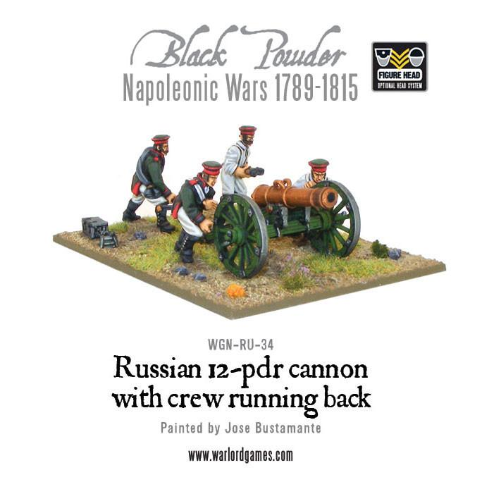 Black Powder Napoleonic Wars: Russian 12 pdr cannon with crew running back