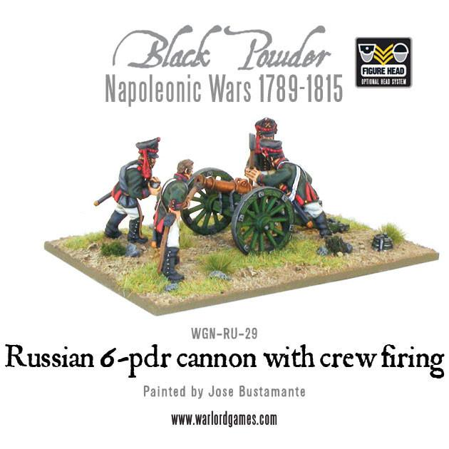 Black Powder Napoleonic Wars: Russian 6 pdr cannon 1809-1815 with crew firing