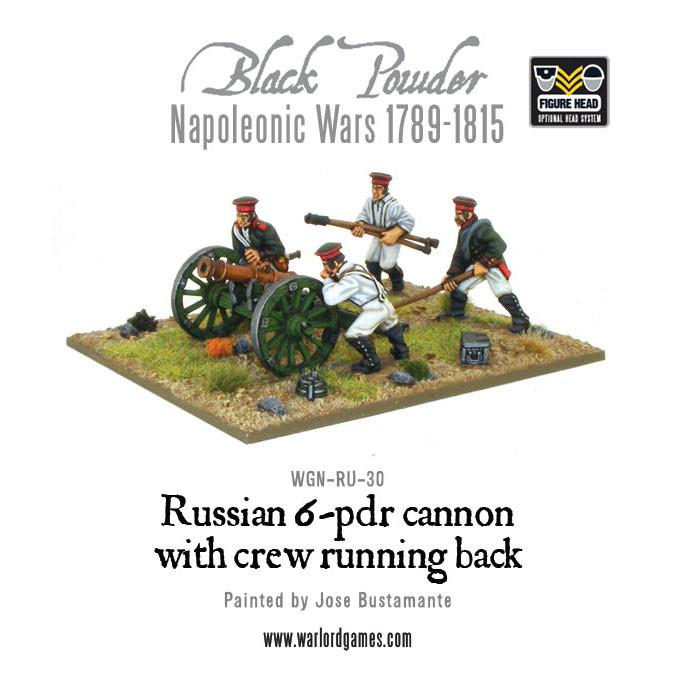 Black Powder Napoleonic Wars: Russian 6 pdr cannon 1809-1815 with crew running back