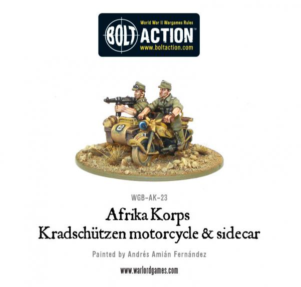 Bolt Action: German: Afrika Korps Kradschutzen Motorcycle and Sidecar