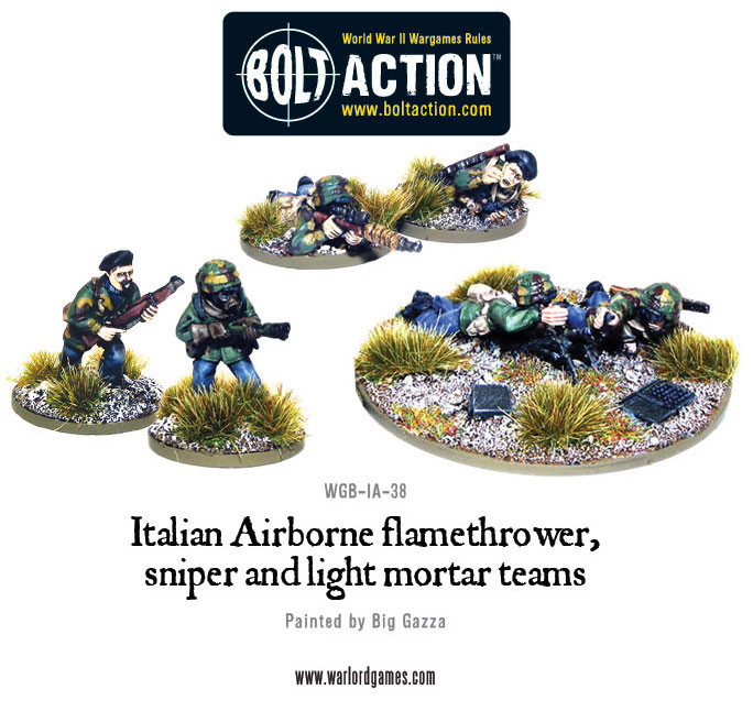 Bolt Action: Italian: Airborne Flamethrower, Sniper and Light Mortar Teams