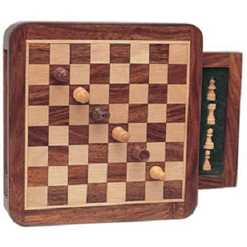 CHESS SET, TRAVEL MAGNETIC WOOD SQUARE WITH DRAWER