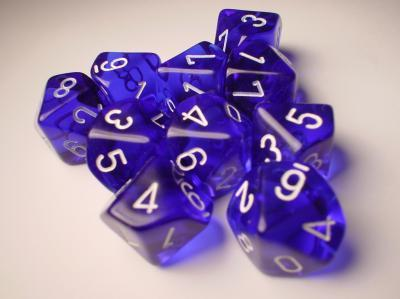 Chessex (23206): D10: Translucent: Blue/White