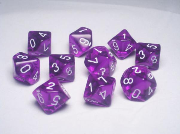 Chessex (23207): D10: Translucent: Purple/White