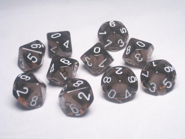 Chessex (23208): D10: Translucent: Smoke/White