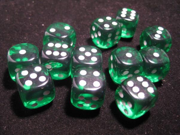 Chessex (23605): D6: 16mm: Translucent: Green/White