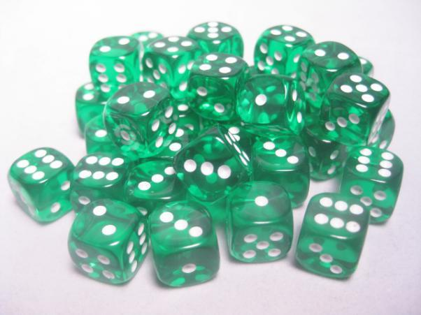 Chessex (23805): D6: 12mm: Translucent: Green/White
