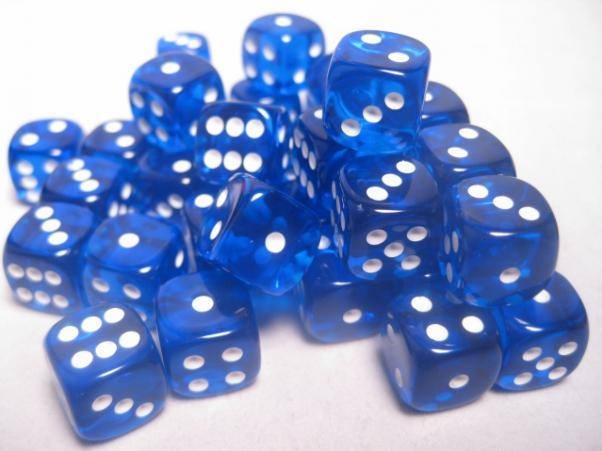 Chessex (23806): D6: 12mm: Translucent: Blue/White