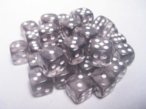 Chessex (23808): D6: 12mm: Translucent: Smoke/White