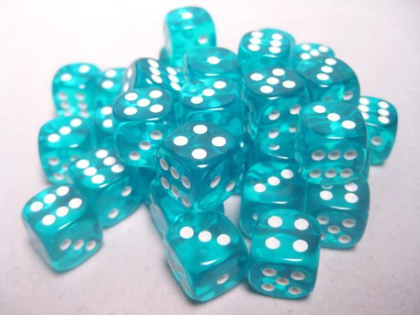 Chessex (23815): D6: 12mm: Translucent: Teal/White