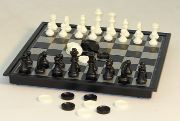 COMBO SET: MAGNETIC CHESS AND CHECKERS 14""