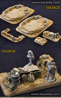 Cama Scenics: 15mm WWII Battlefield Accessories: Desert Large Battery Emplacement