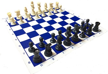 Chess: Plastic Staunton Style Chess Pieces with Bag (Black/Cream)
