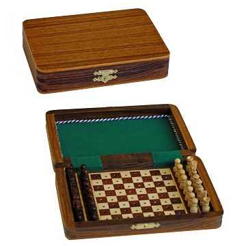 Chess: Travel Set Pegged Improved Version Wood Rectangle