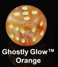 Chessex (27723): D6: 16mm: Ghostly Glow: Orange/Yellow
