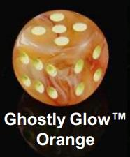 Chessex (27923): D6: 12mm: Ghostly Glow: Orange/Yellow [Missing Die)