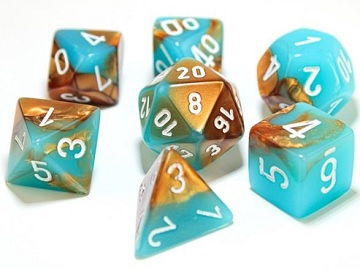 Chessex (30019): Polyhedral 7-Die Set: Gemini - Copper Turquoise/White