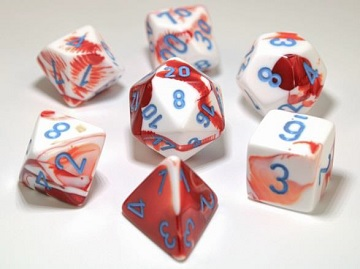 Chessex (30022): Polyhedral 7-Die Set: Gemini - Red White/Blue
