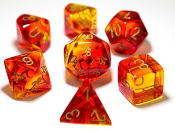 Chessex (30024): Polyhedral 7-Die Set: Gemini - Red Yellow