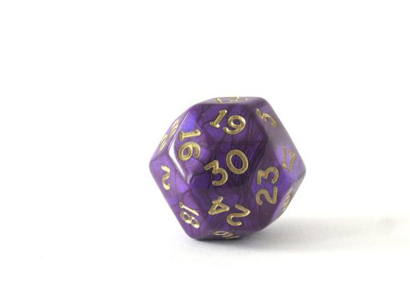 Chessex: d30- Gold Shimmer Polyhedral Purple/Gold
