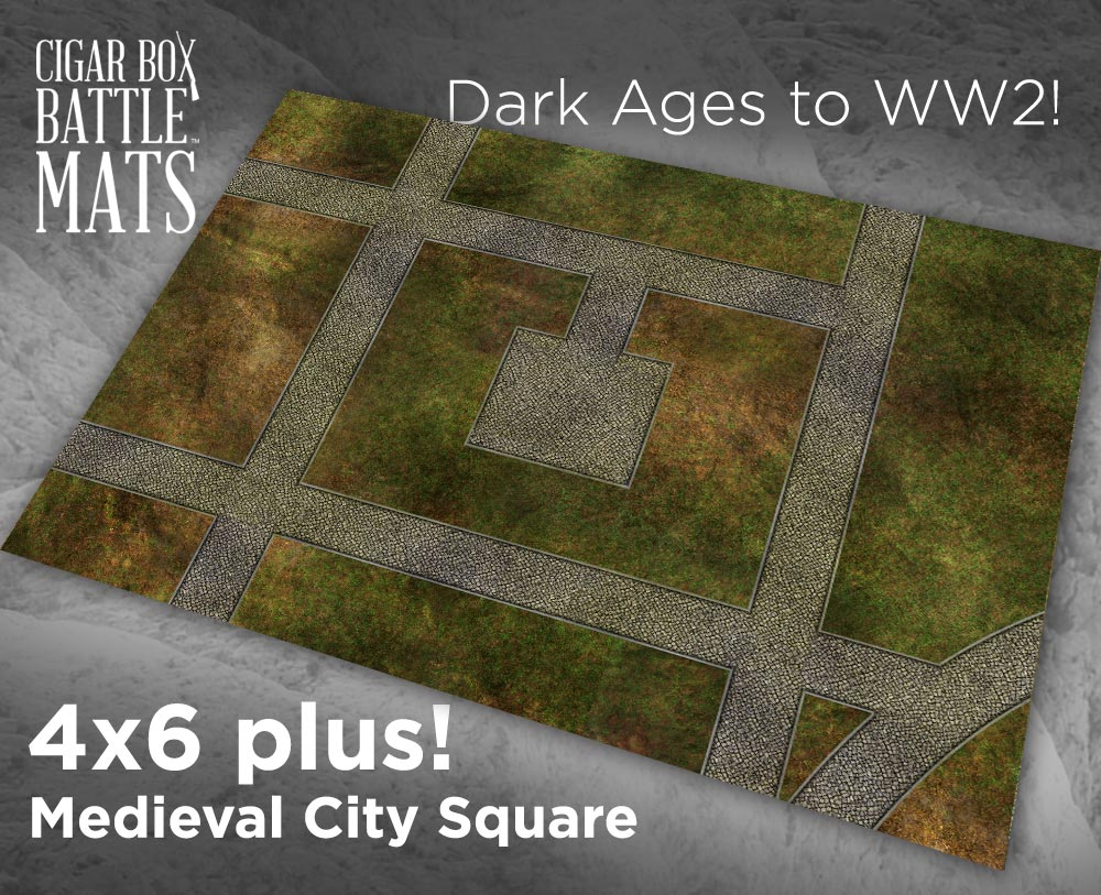 Cigar Box Battle Mat: Medieval City Square (4x6+)