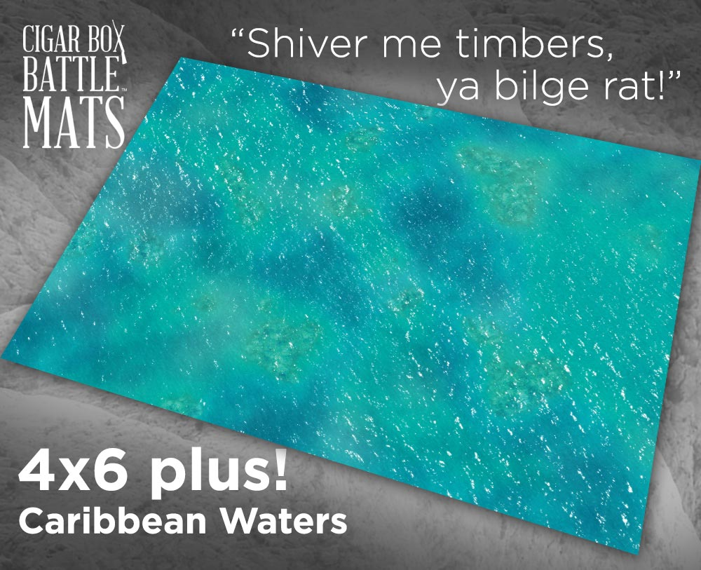 Cigar Box Battle Mats: Caribbean Waters (4x6+)