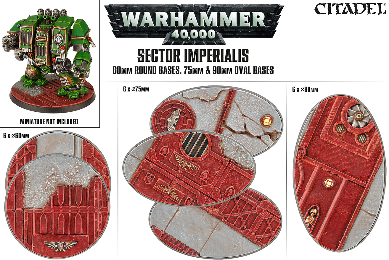 Citadel: SECTOR IMPERIALIS: 60mm Round Bases, 75mm & 90mm Oval Bases